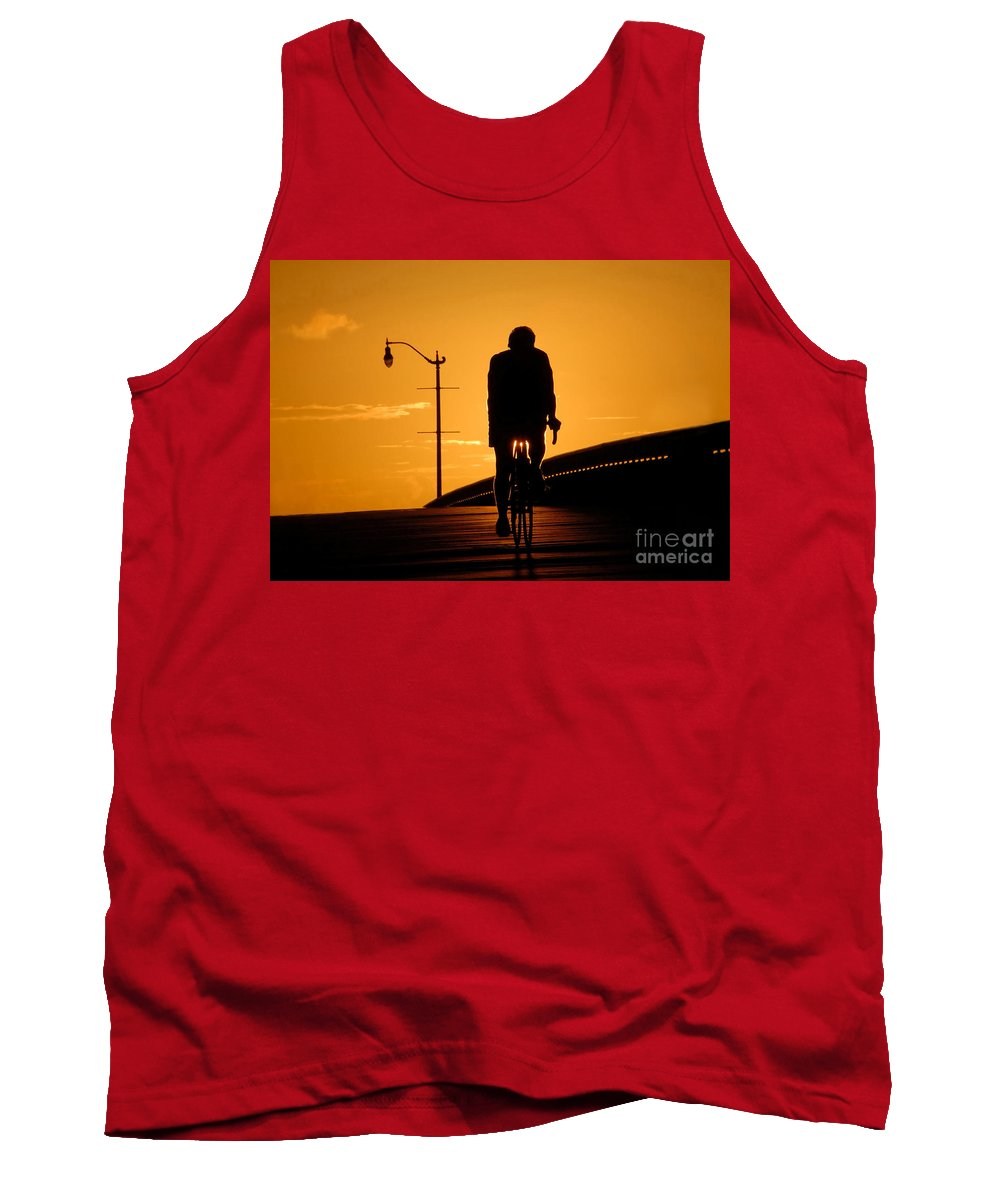 Bicycle Tank Top featuring the photograph Riding At Sunset by David Lee Thompson