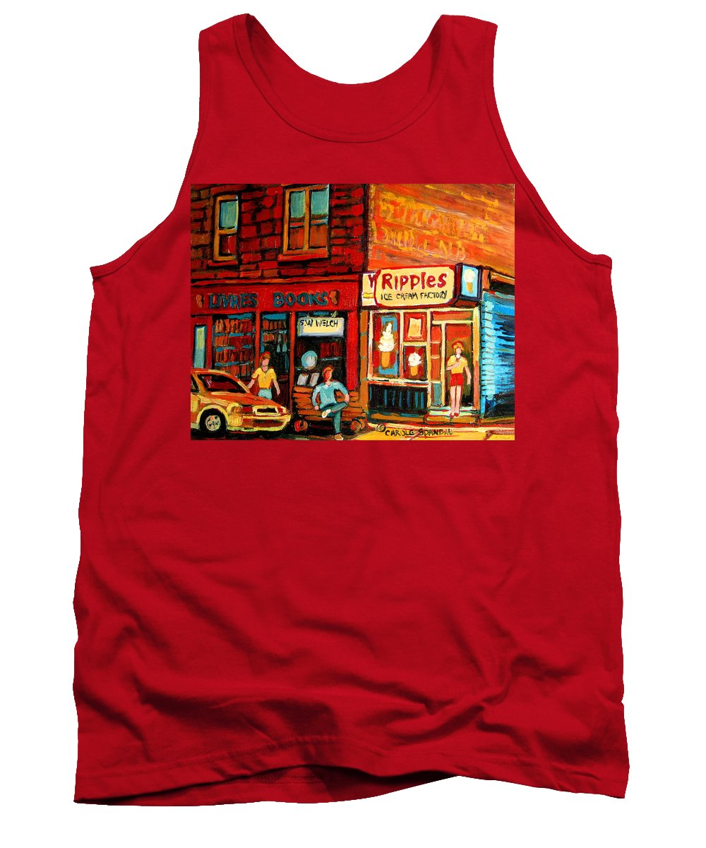 Ripples Icecream Factory Tank Top featuring the painting Ripples Ice Cream Factory by Carole Spandau