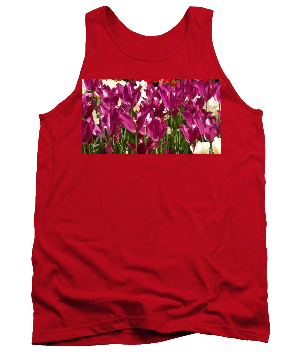 Riveting Tulip Of Joy Tank Top featuring the painting Riveting Tulip Of Joy by Jeelan Clark