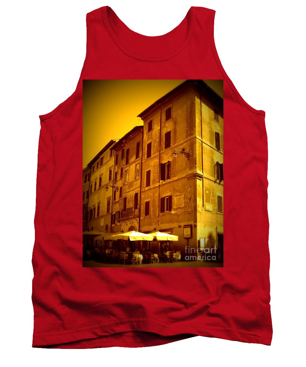 Italy Tank Top featuring the photograph Roman Cafe With Golden Sepia 2 by Carol Groenen