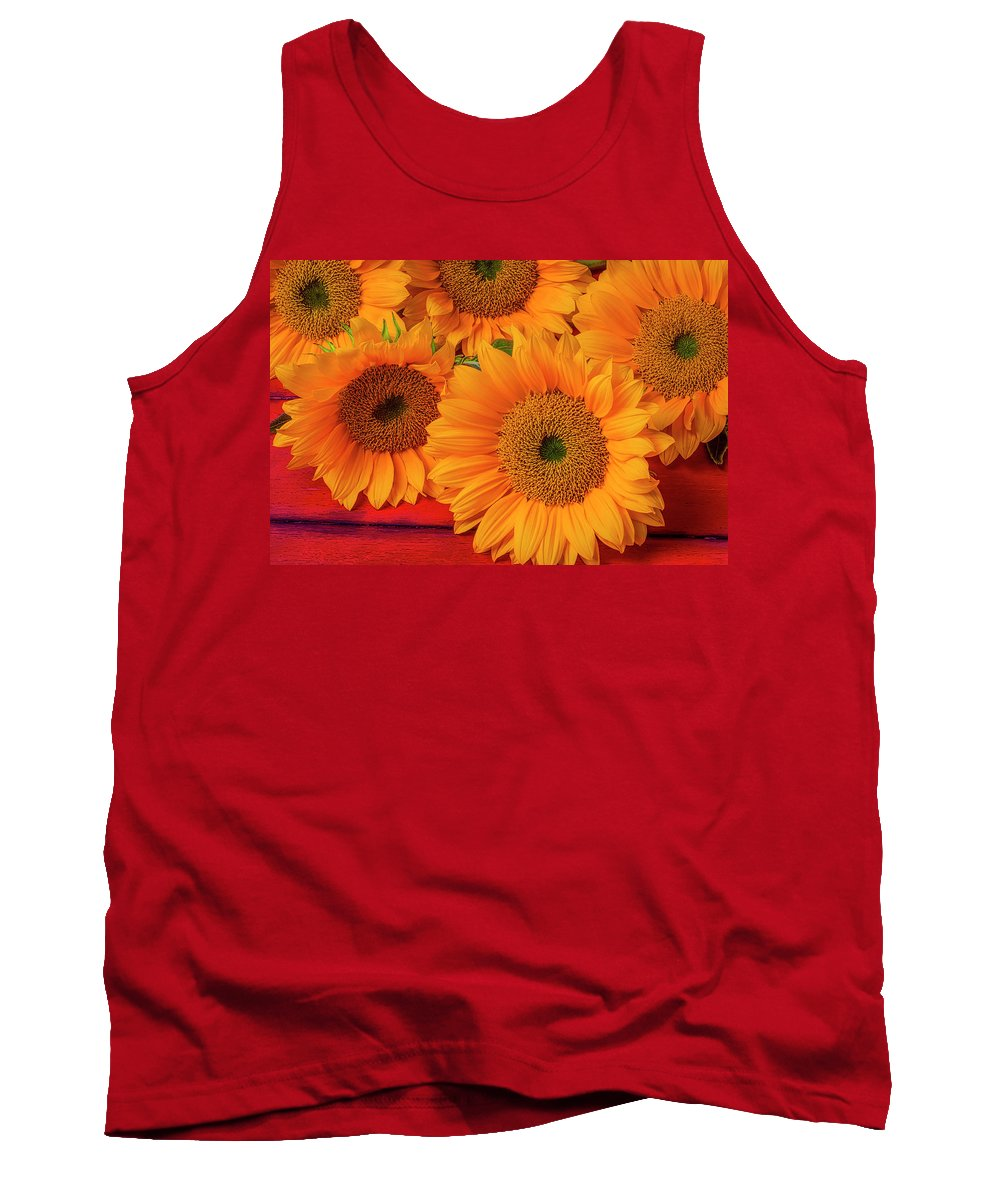 Yellow Tank Top featuring the photograph Romantic Sunflowers by Garry Gay