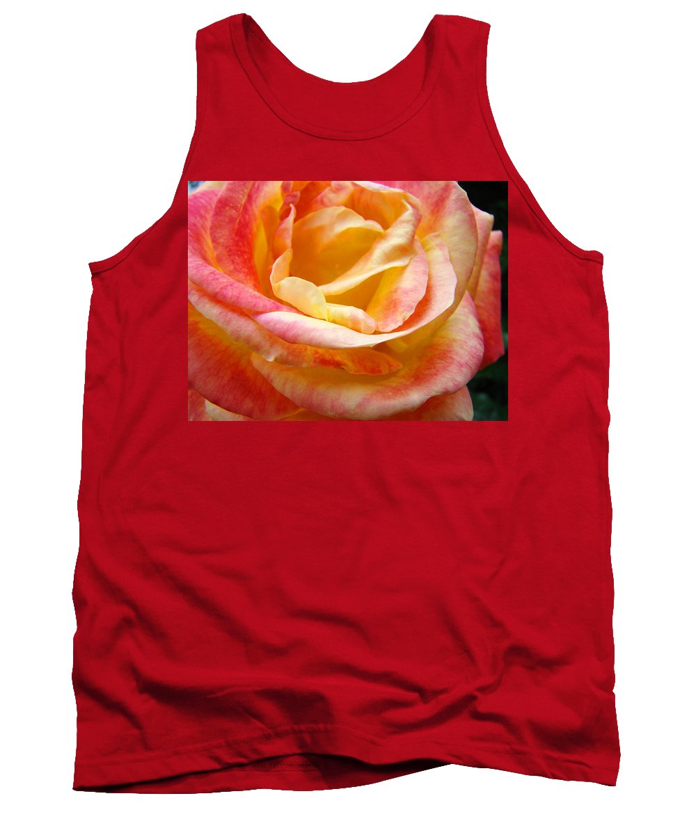 Rose Tank Top featuring the photograph Rose Art Pink Yellow Summer Rose Floral Baslee Troutman by Baslee Troutman