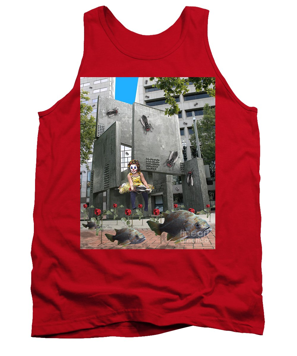 Girl Tank Top featuring the digital art Rose City by Keith Dillon