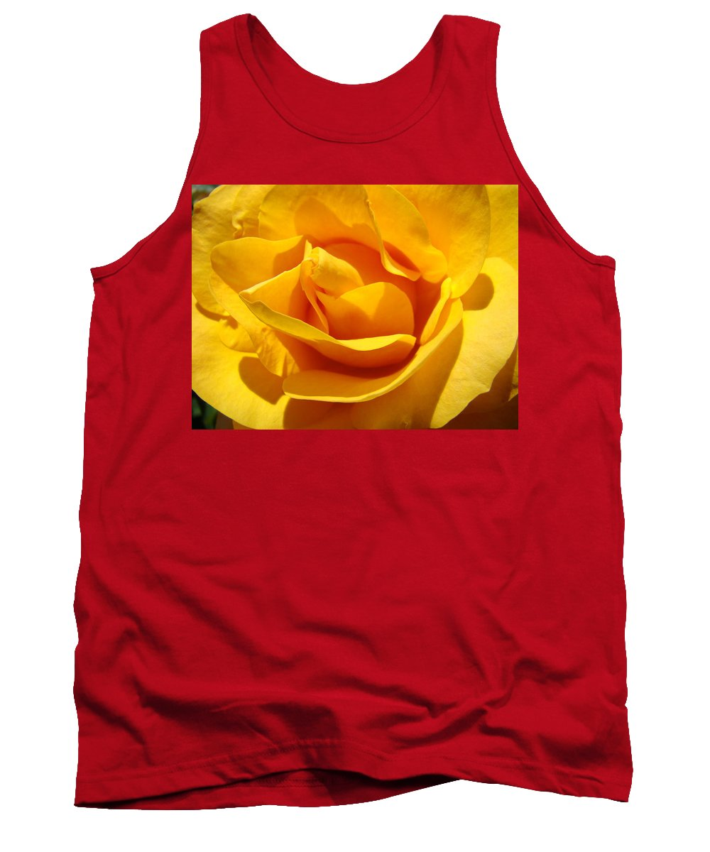 Rose Tank Top featuring the photograph Rose Flower Orange Yellow Roses 1 Golden Sunlit Rose Baslee Troutman by Baslee Troutman