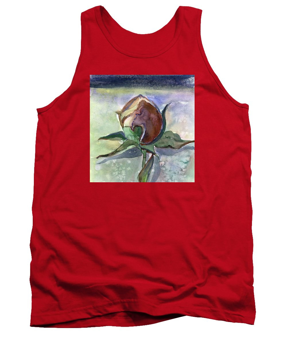 Rose Tank Top featuring the painting Rose In The Snow by Mindy Newman
