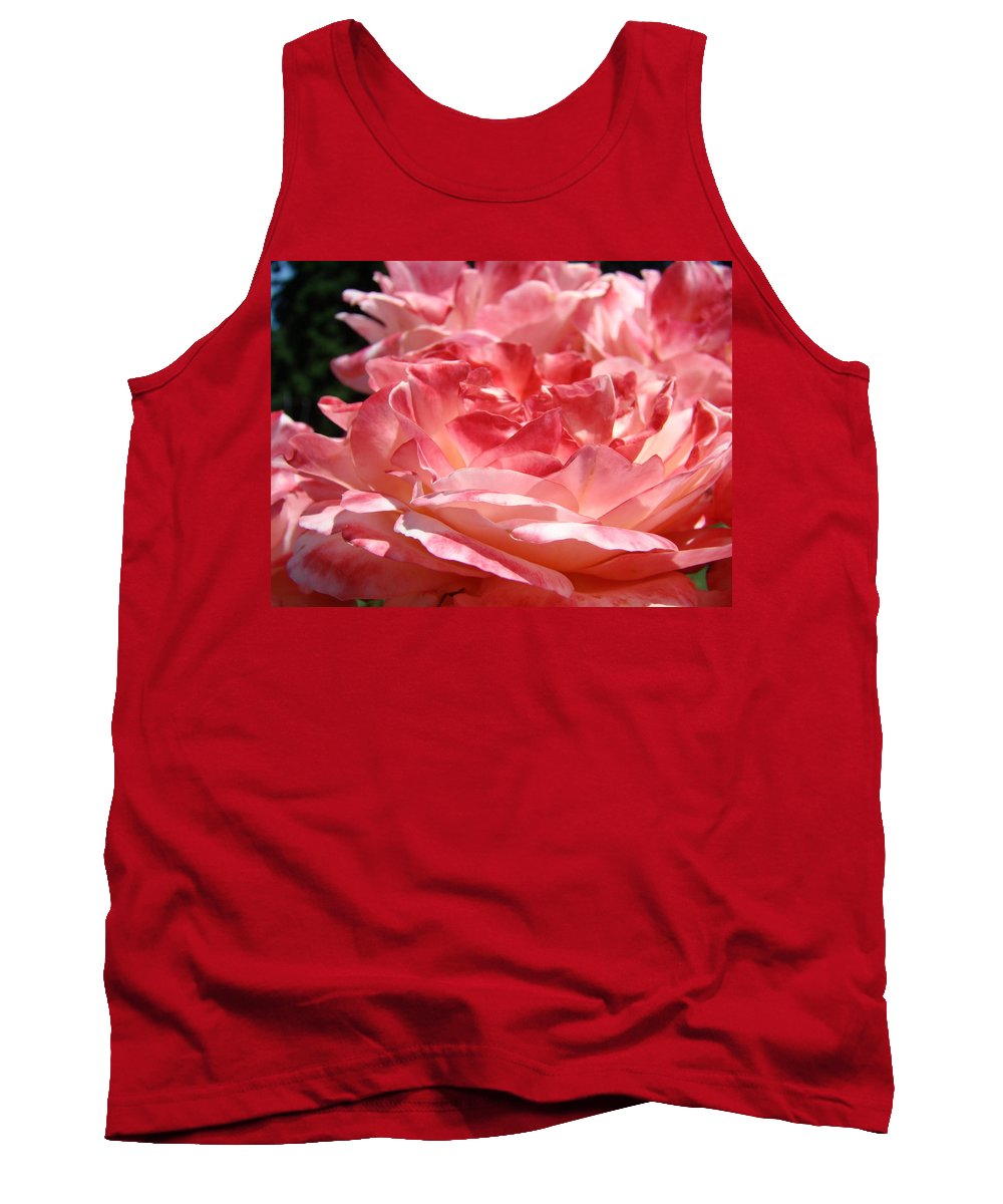 Rose Tank Top featuring the photograph Roses Cinnamon Pink Rose Flowers 3 Rose Garden Art Baslee Troutman by Baslee Troutman