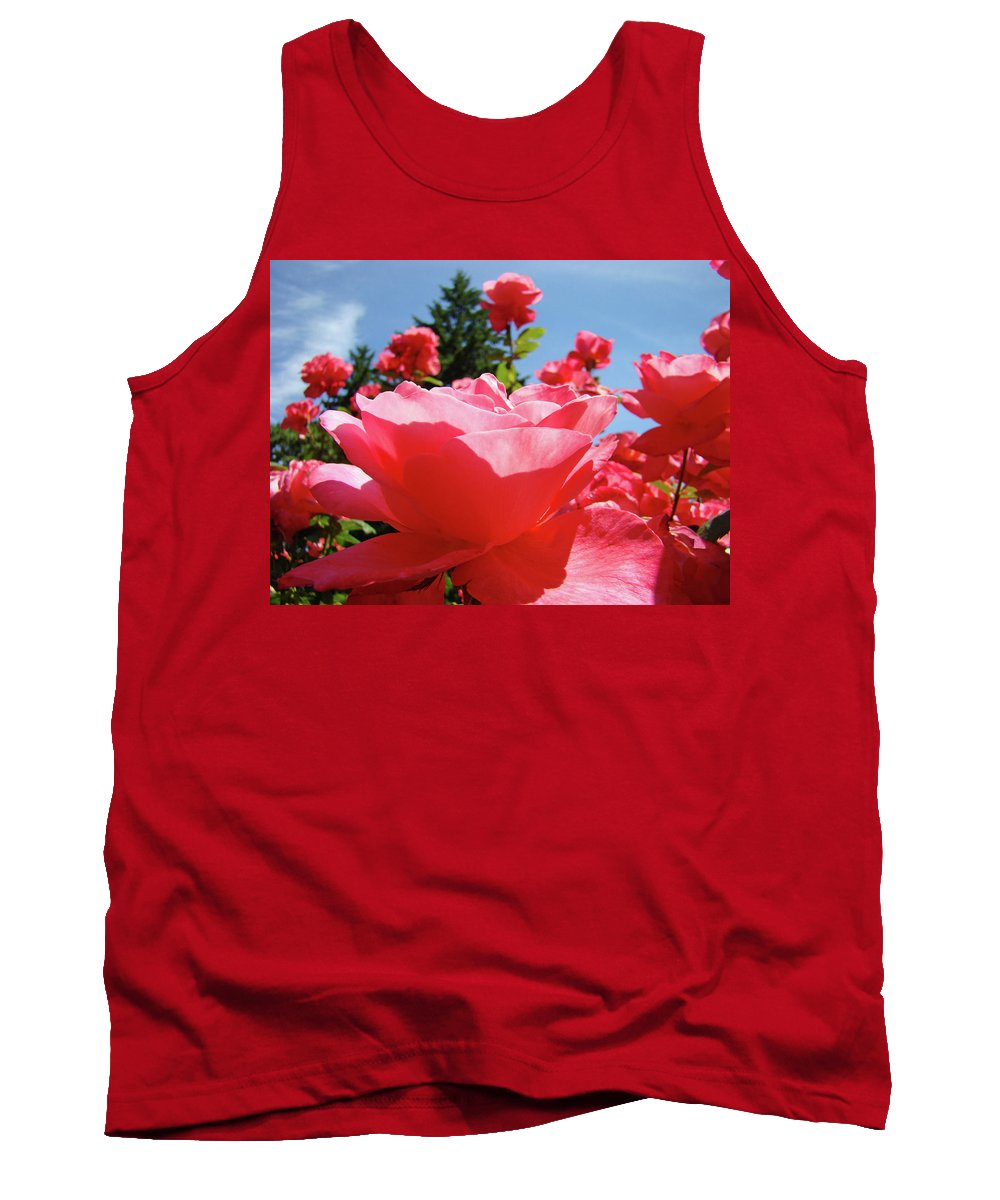 Rose Tank Top featuring the photograph Roses Pink Rose Landscape Summer Blue Sky Art Prints Baslee Troutman by Baslee Troutman