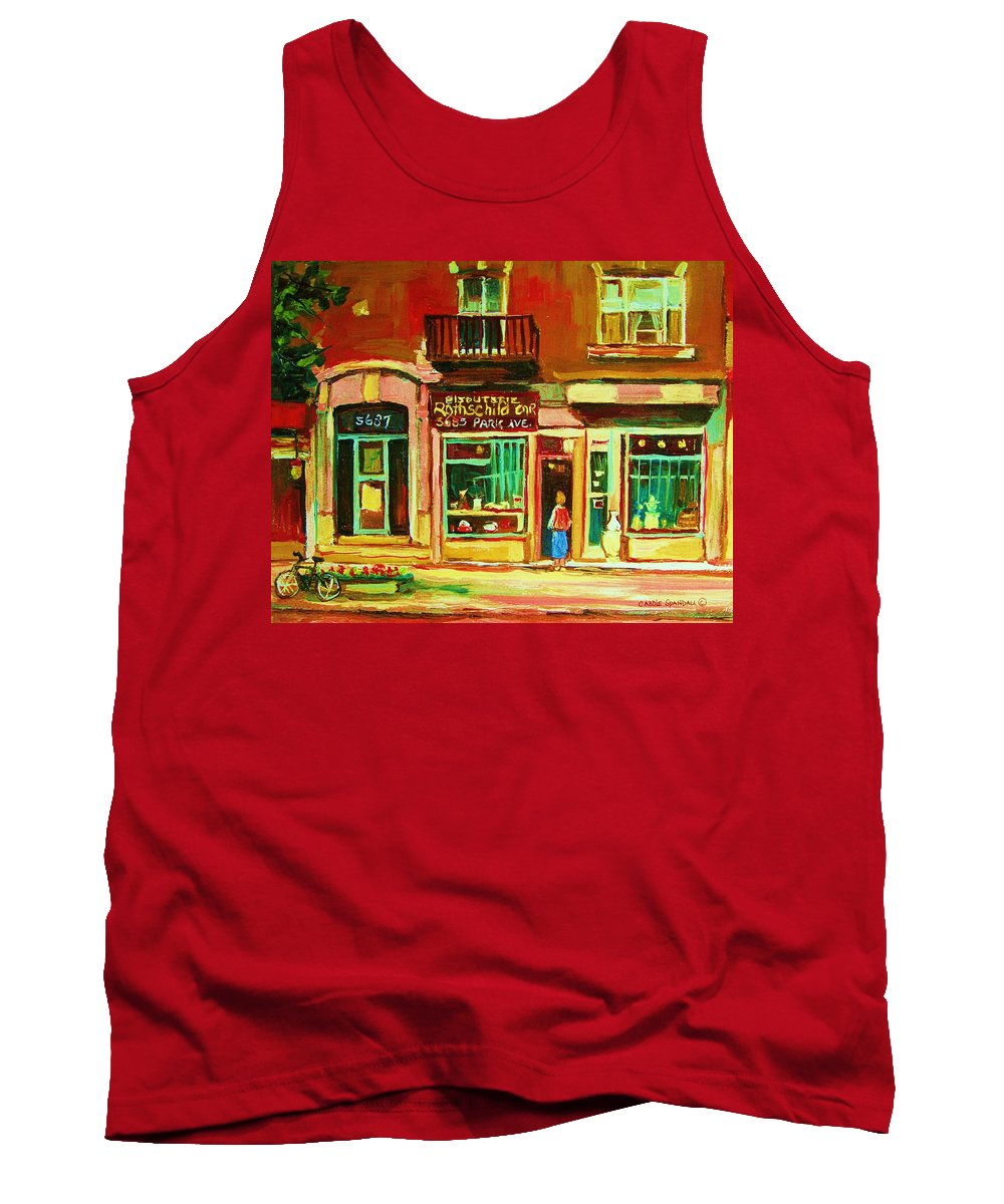 Montreal Tank Top featuring the painting Rothchilds Jewellers On Park Avenue by Carole Spandau