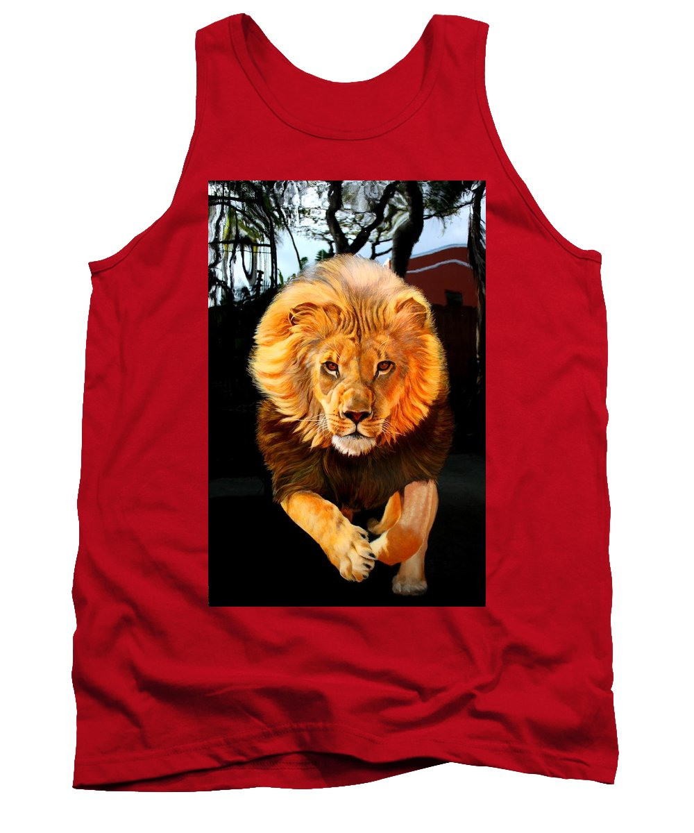 Animal Painting Tank Top featuring the painting Running Lion by Susana Falconi