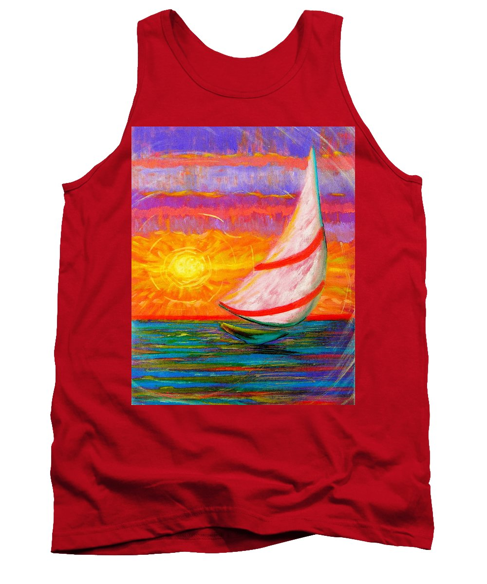 Sailboat Tank Top featuring the painting Sailaway by Jeanette Jarmon