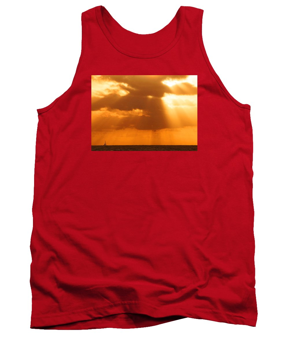 Sunrise Tank Top featuring the photograph Sailboat Bathed In Hazy Rays by Lawrence S Richardson Jr