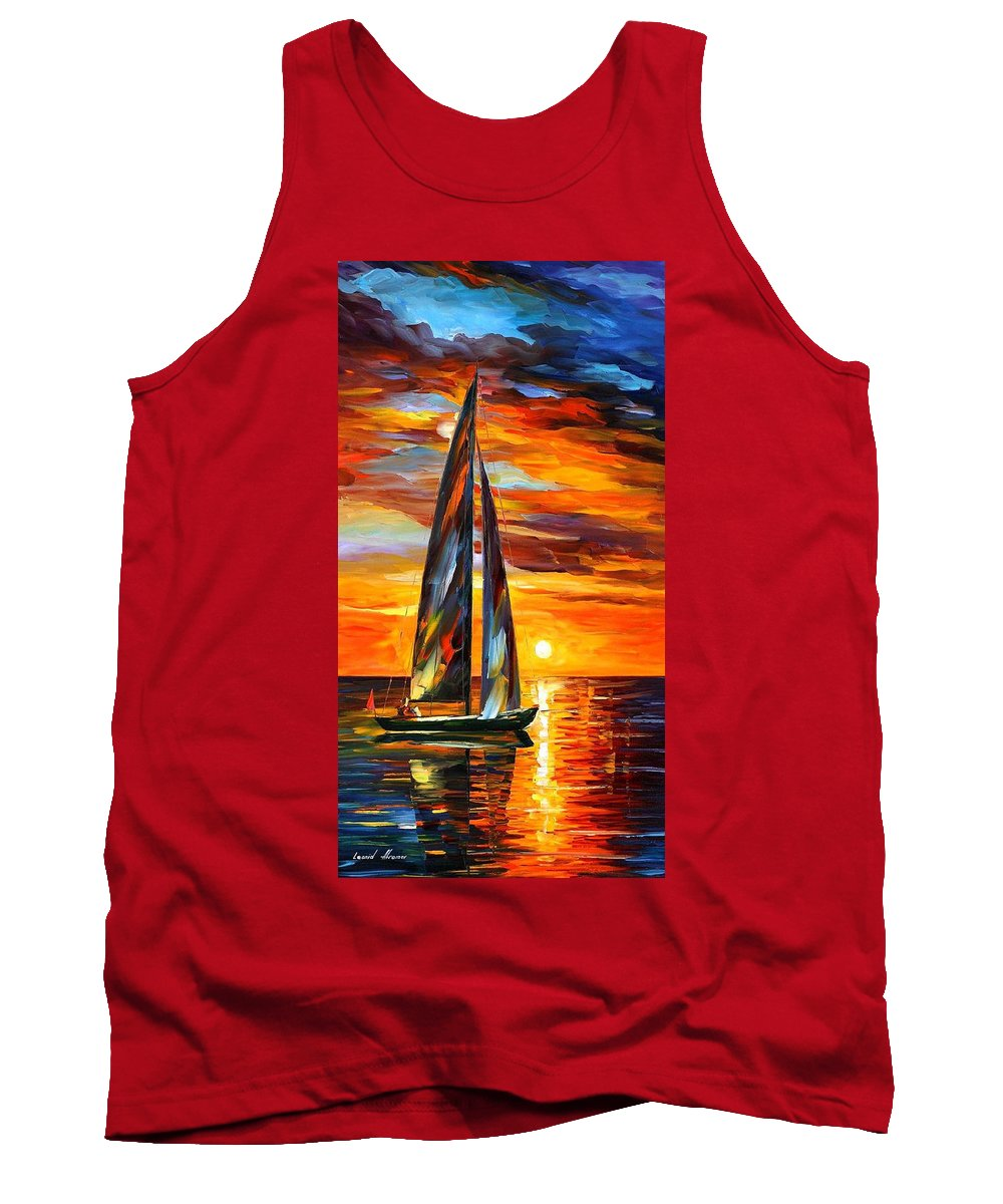 Art Gallery Tank Top featuring the painting Sailing With The Sun - Palette Knife Oil Painting On Canvas By Leonid Afremov by Leonid Afremov