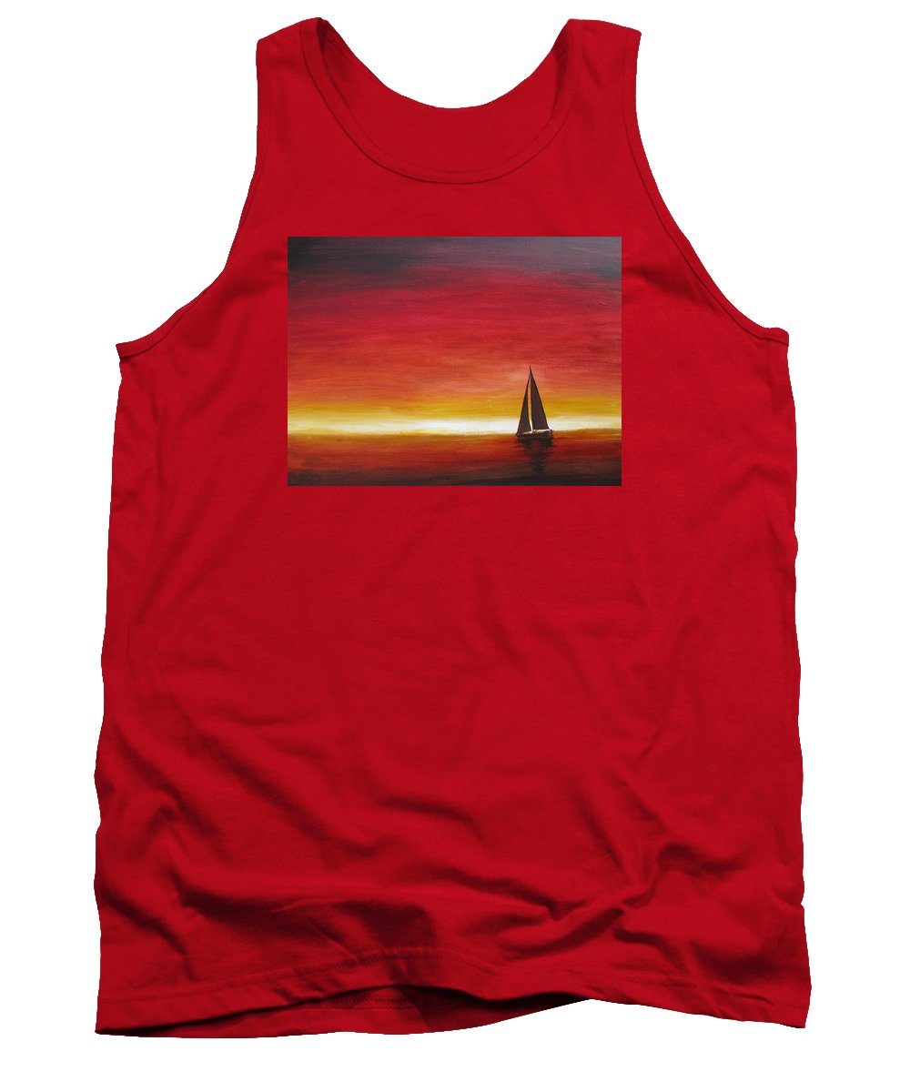 Sunset Tank Top featuring the painting Sailors Delight by Karen Stark