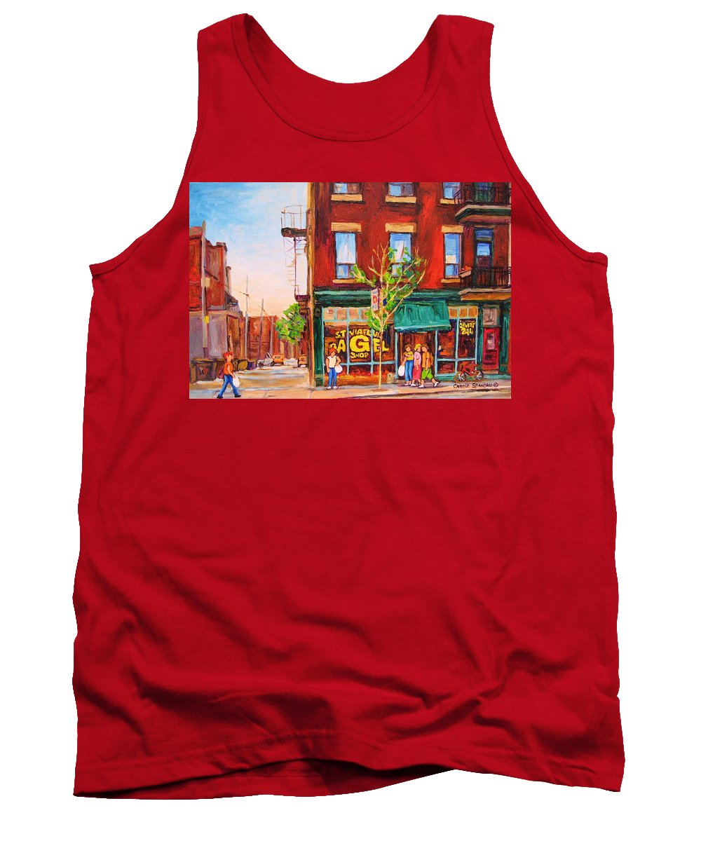Montreal Tank Top featuring the painting Saint Viateur Bagel by Carole Spandau