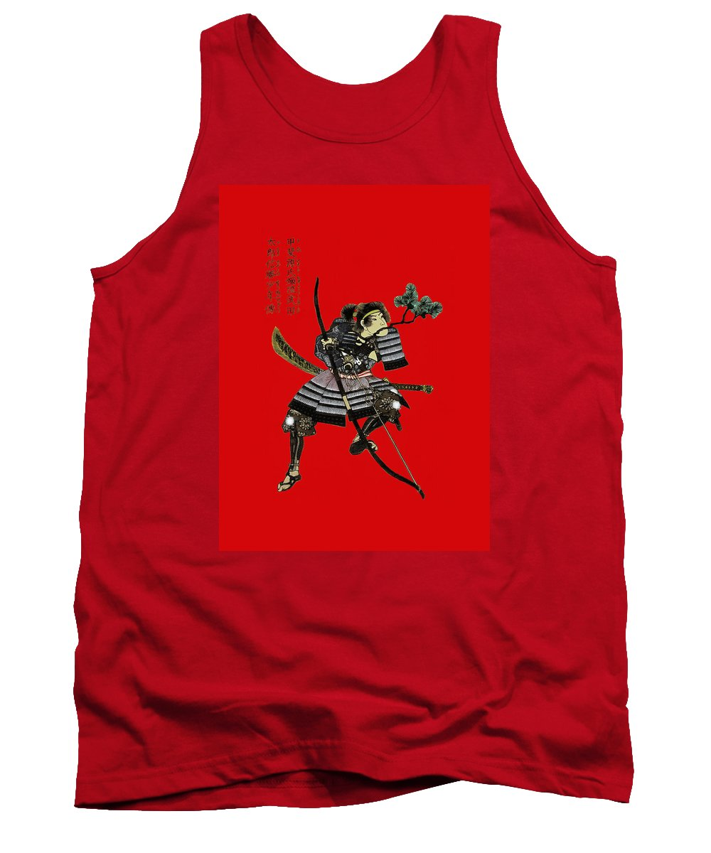 Samurai Tank Top featuring the painting Samurai With Bow by Sergey Lukashin