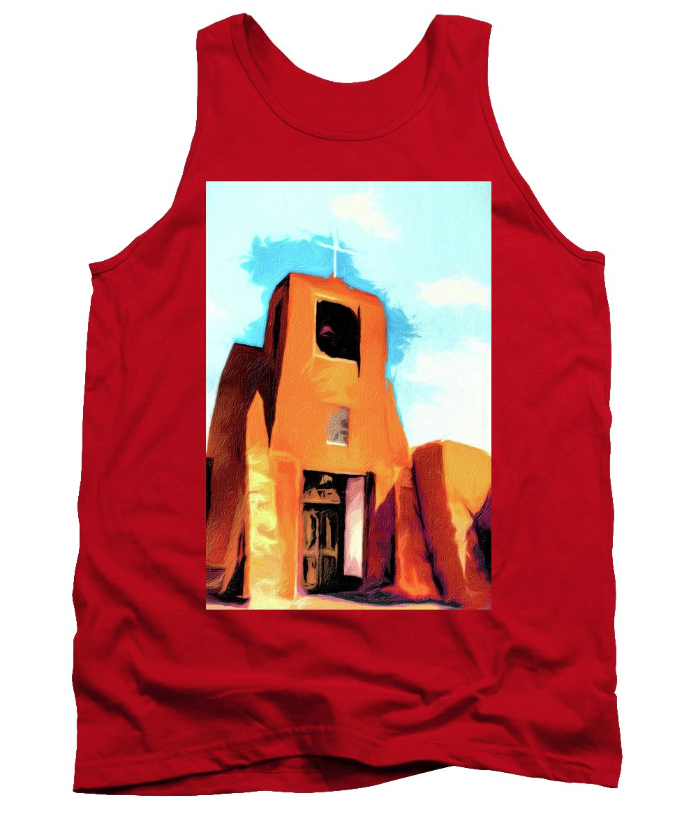 Church Tank Top featuring the photograph San Miguel Santa Fe by Terry Fiala
