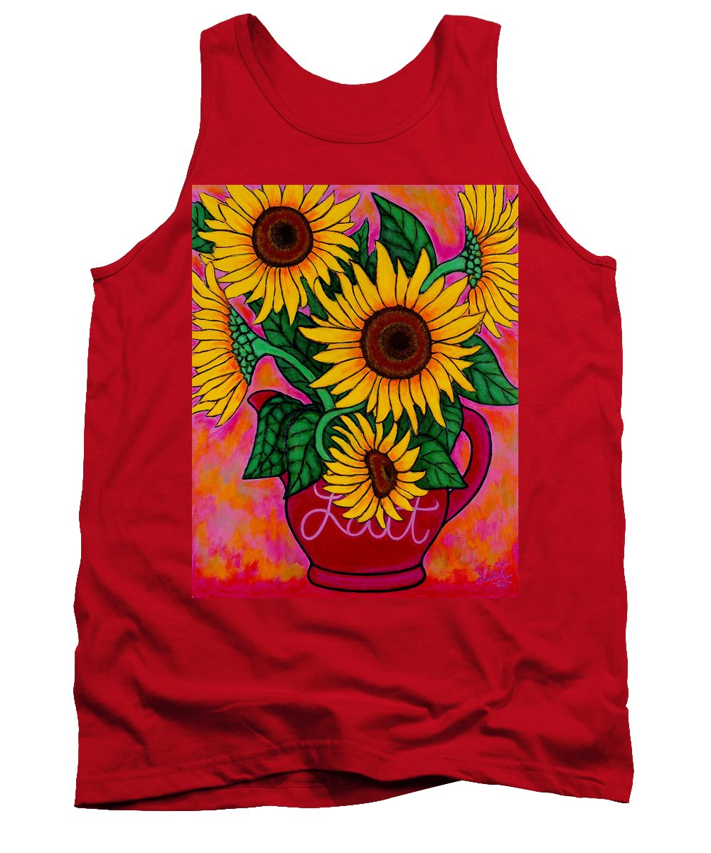 Sunflowers Tank Top featuring the painting Saturday Morning Sunflowers by Lisa Lorenz