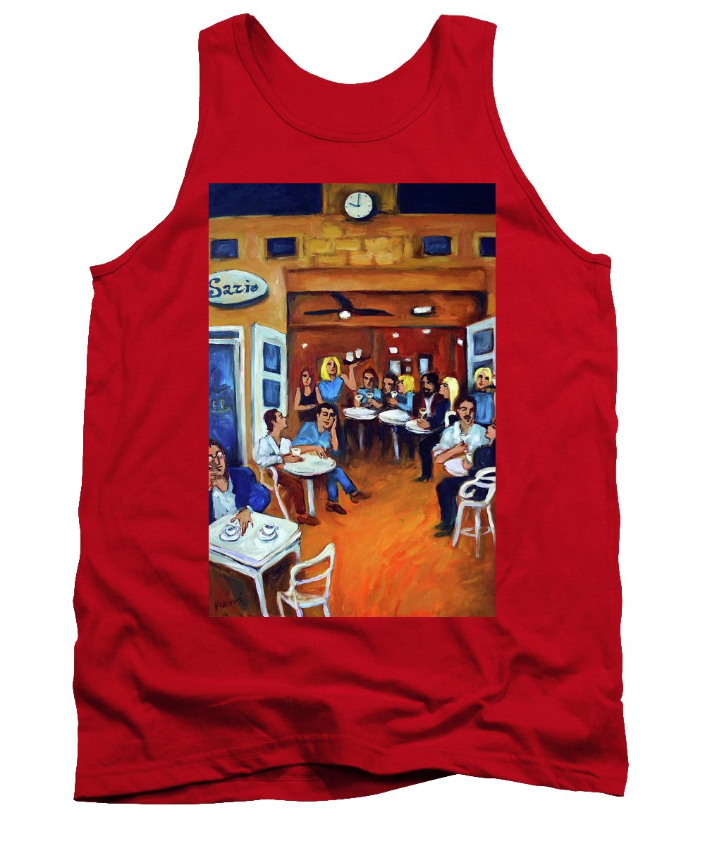 Sidewalk Cafe Tank Top featuring the painting Sazio by Valerie Vescovi