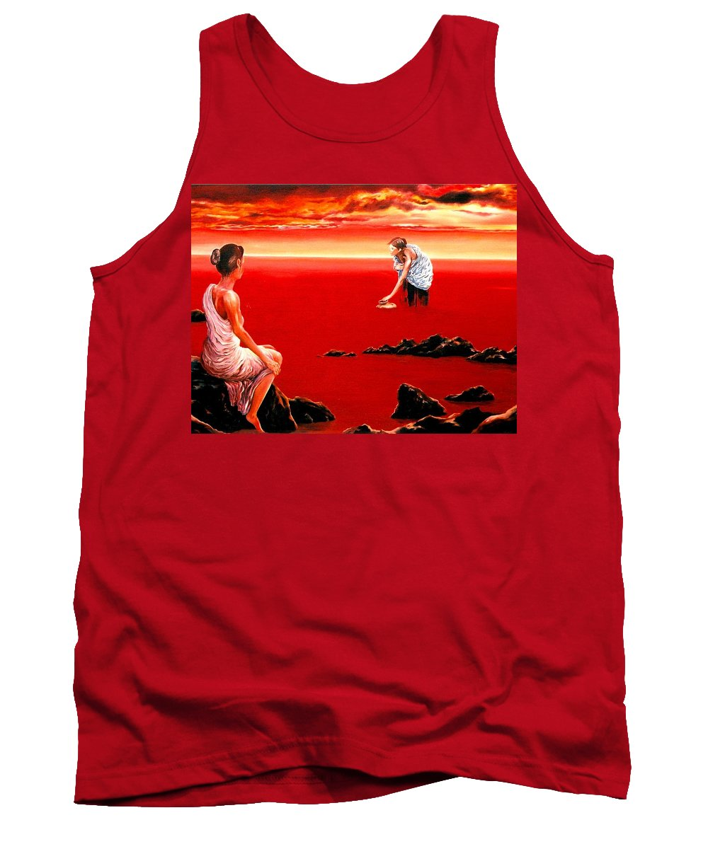 Red Tank Top featuring the painting Scarlet Evening In December by Mark Cawood