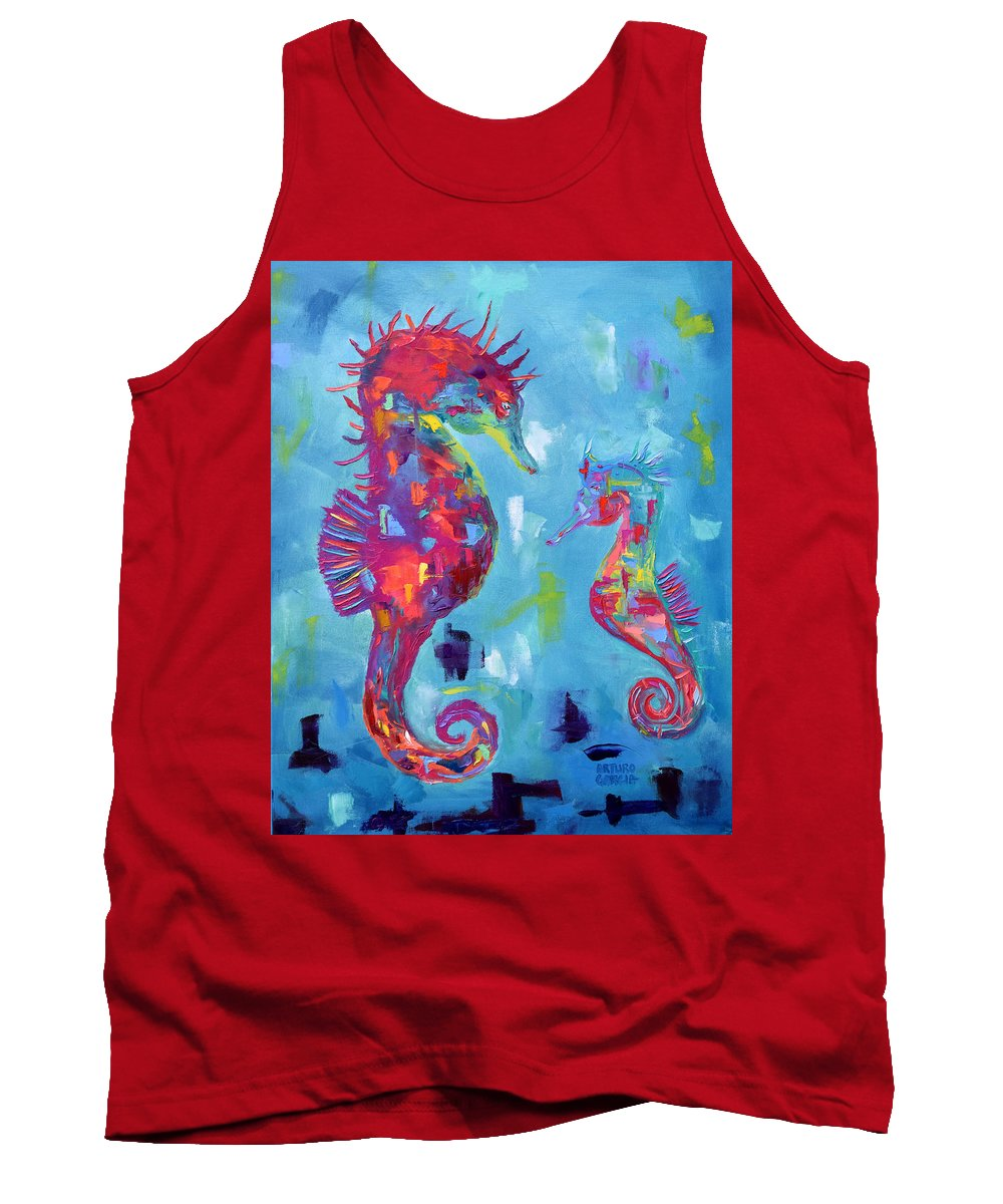 Oil On Canvas By Arturo Garcia Tank Top featuring the painting Fatherly Advise by Arturo Garcia
