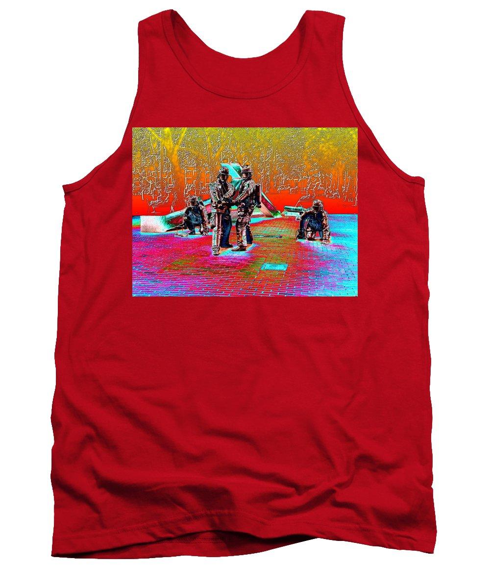 Seattle Tank Top featuring the digital art Seattle Fire Fighter Memorial by Tim Allen