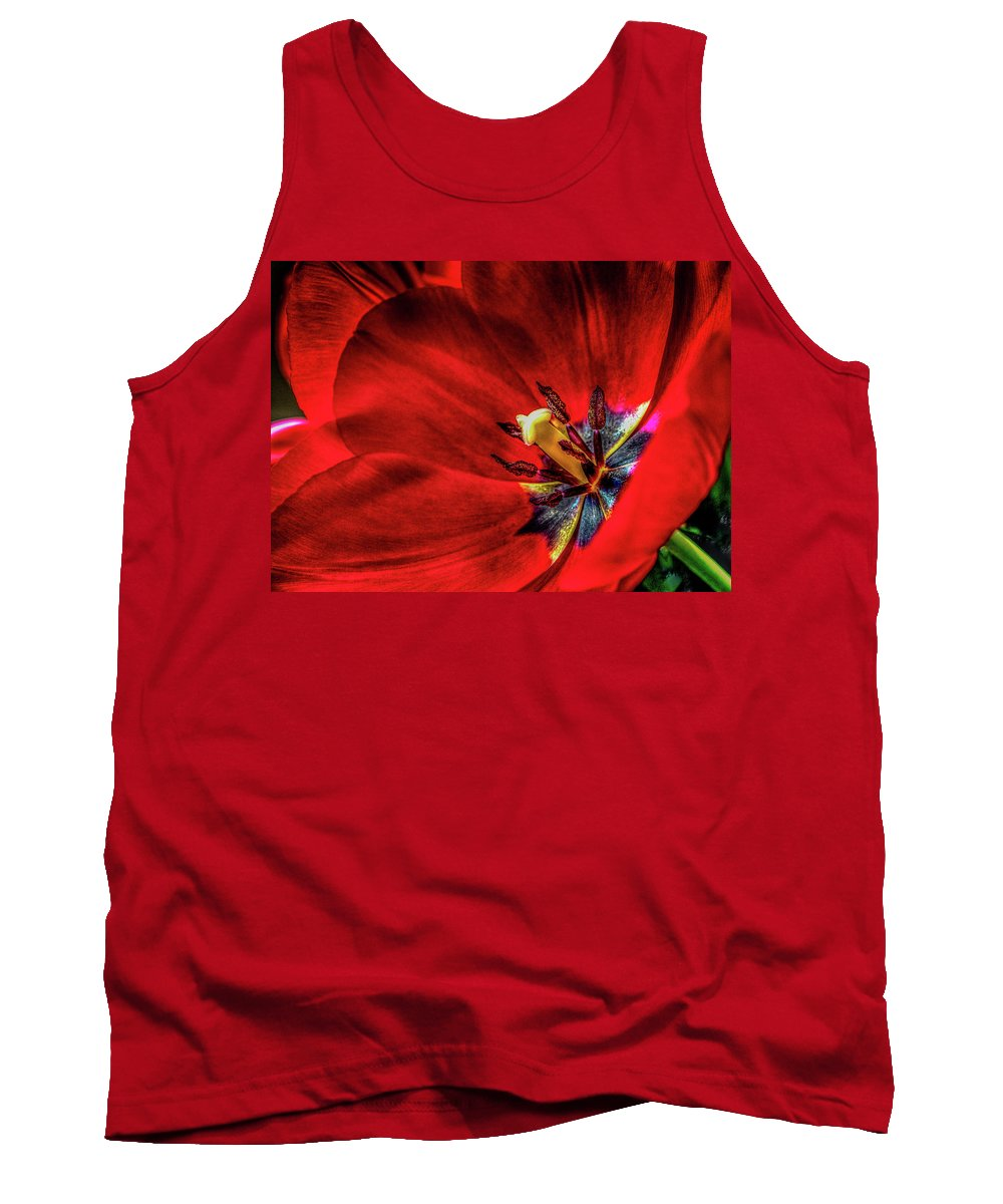 Red Tulip Tank Top featuring the photograph Secret Of The Red Tulip by Sandra A Fox