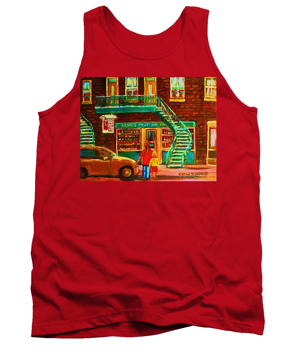 Staircases Tank Top featuring the painting Segal's Fruit And Variety Store by Carole Spandau
