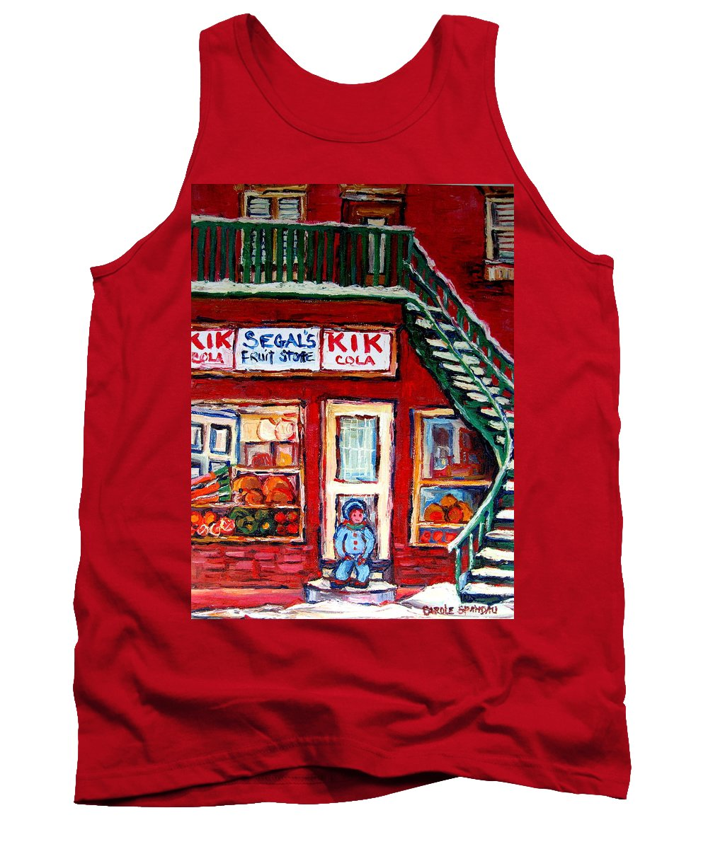 Segal Tank Top featuring the painting Segal's Market St.lawrence Boulevard Montreal by Carole Spandau