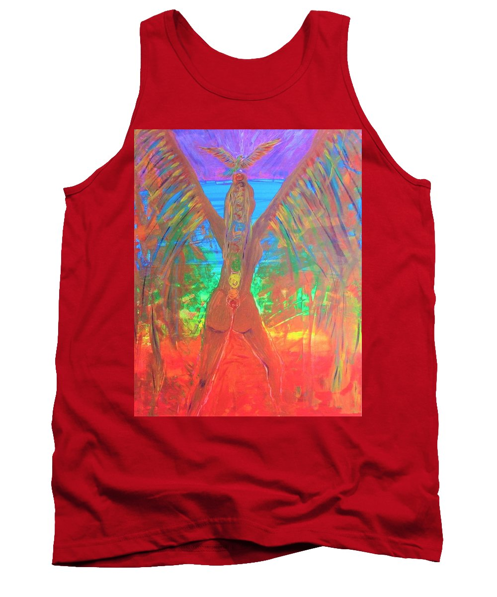 Shakti Tank Top featuring the painting Shakti Angel by Christine Musacchio