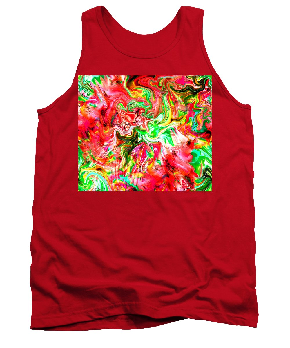 Abstract Tank Top featuring the digital art She Embraces Nature by Abstract Angel Artist Stephen K