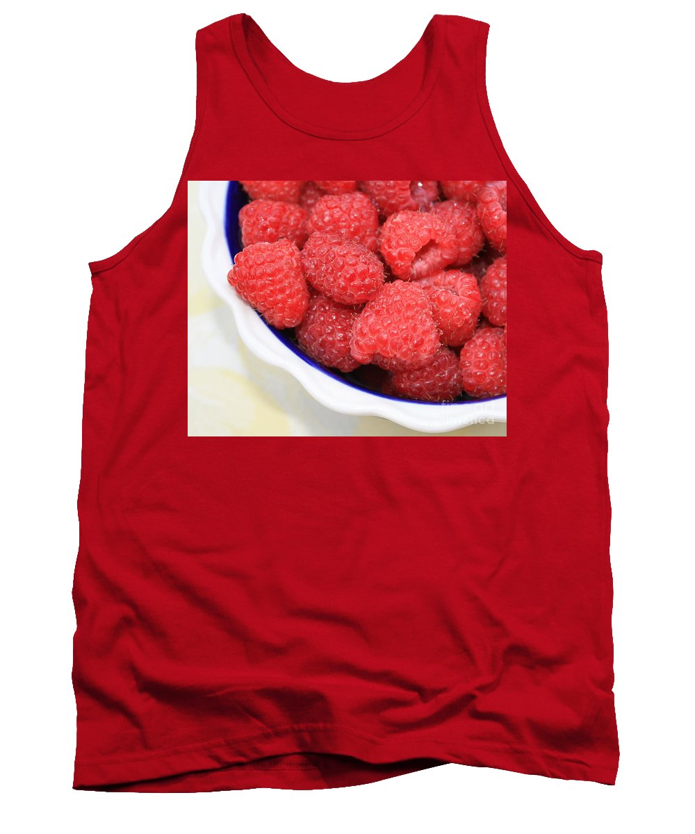 Tank Top featuring the photograph Side View Of Rasberries In Blue Bowl by Carol Groenen