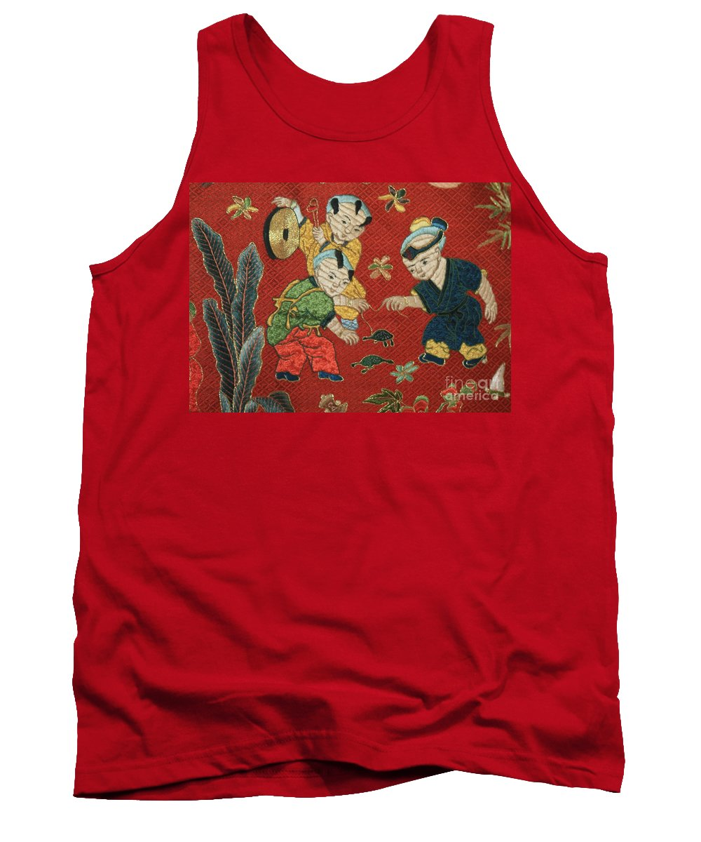 Children Playing Tank Top featuring the photograph Silk Robe - Children Playing With Turtle by Carol Groenen