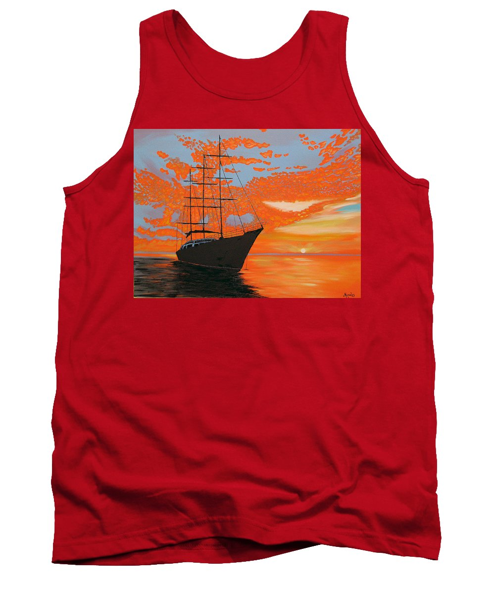 Seascape Tank Top featuring the painting Sittin' On The Bay by Marco Morales
