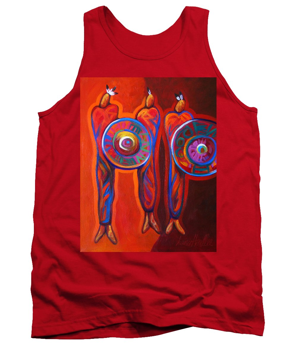 Indians Tank Top featuring the painting Six Feathers by Lance Headlee