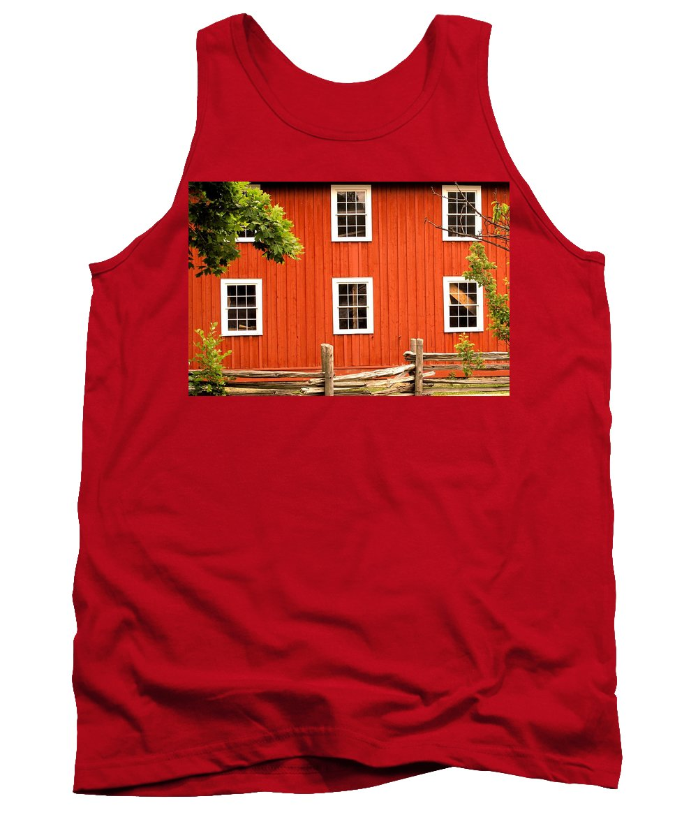 Red Wall Tank Top featuring the photograph Six Windows by Ian MacDonald