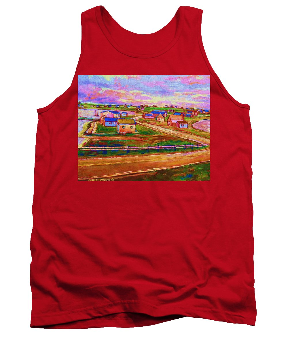 Sunrise Tank Top featuring the painting Sleepy Little Village by Carole Spandau