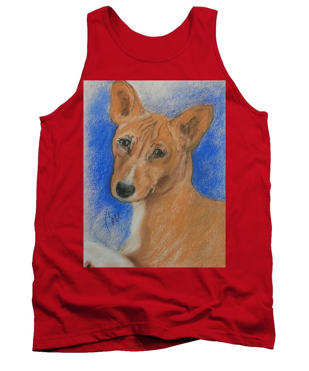 Dog Tank Top featuring the drawing Small And Mighty by Cori Solomon