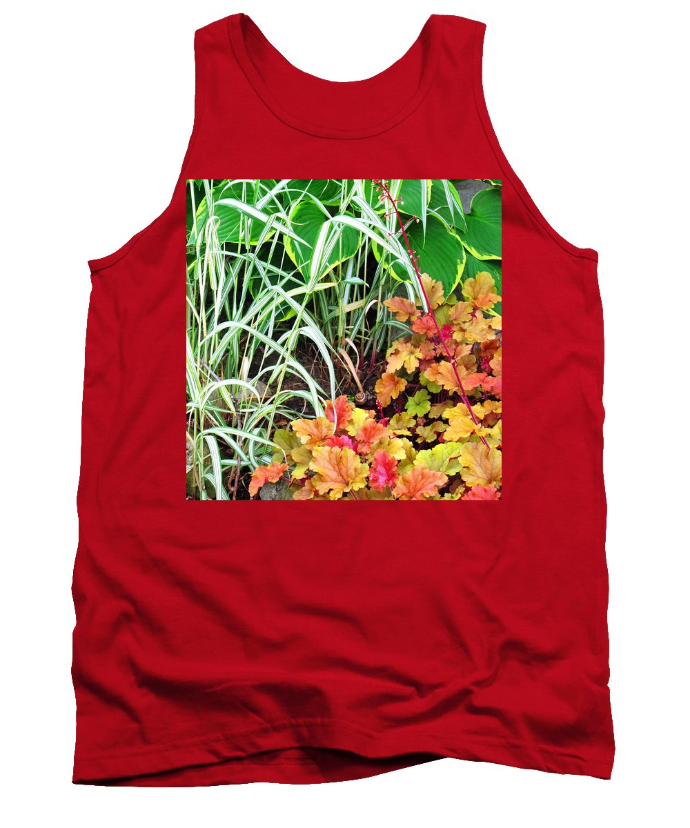 Garden Tank Top featuring the photograph Snail In A Rich Composition by Ian MacDonald