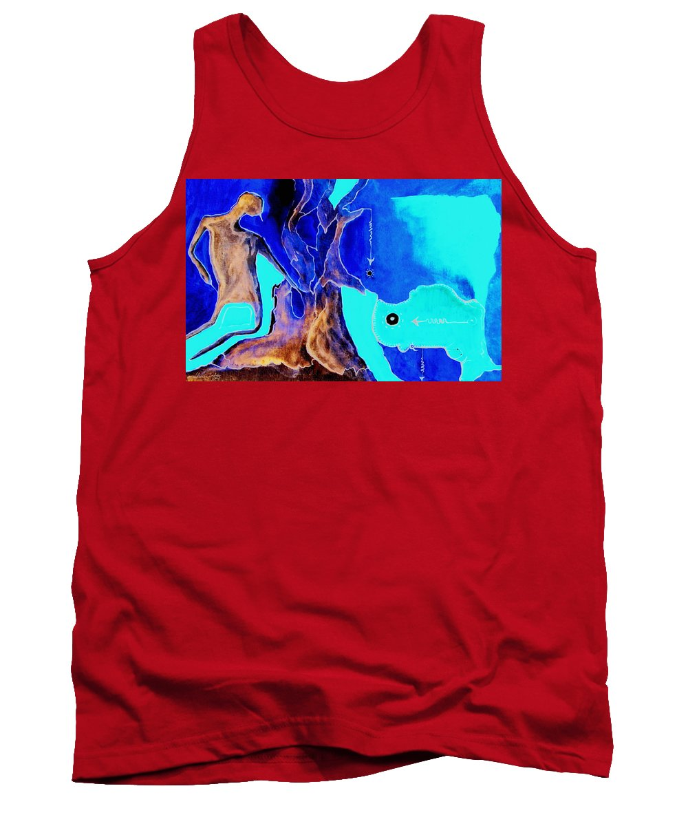 Game Direction Abstract Red Man Tank Top featuring the painting Sophogame by Veronica Jackson