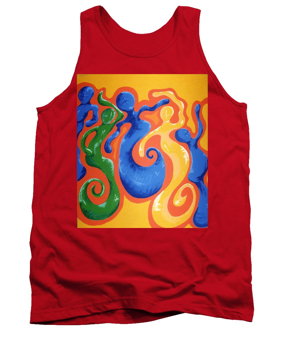 Tank Top featuring the painting Soul Figures 3 by Catt Kyriacou