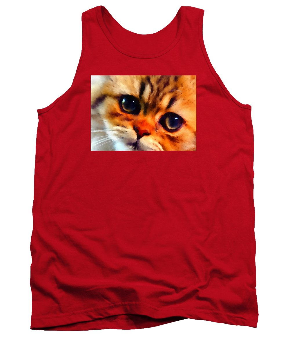 Kitten Tank Top featuring the painting Soulfull Eyes Kitten Portrait by Linda Koelbel