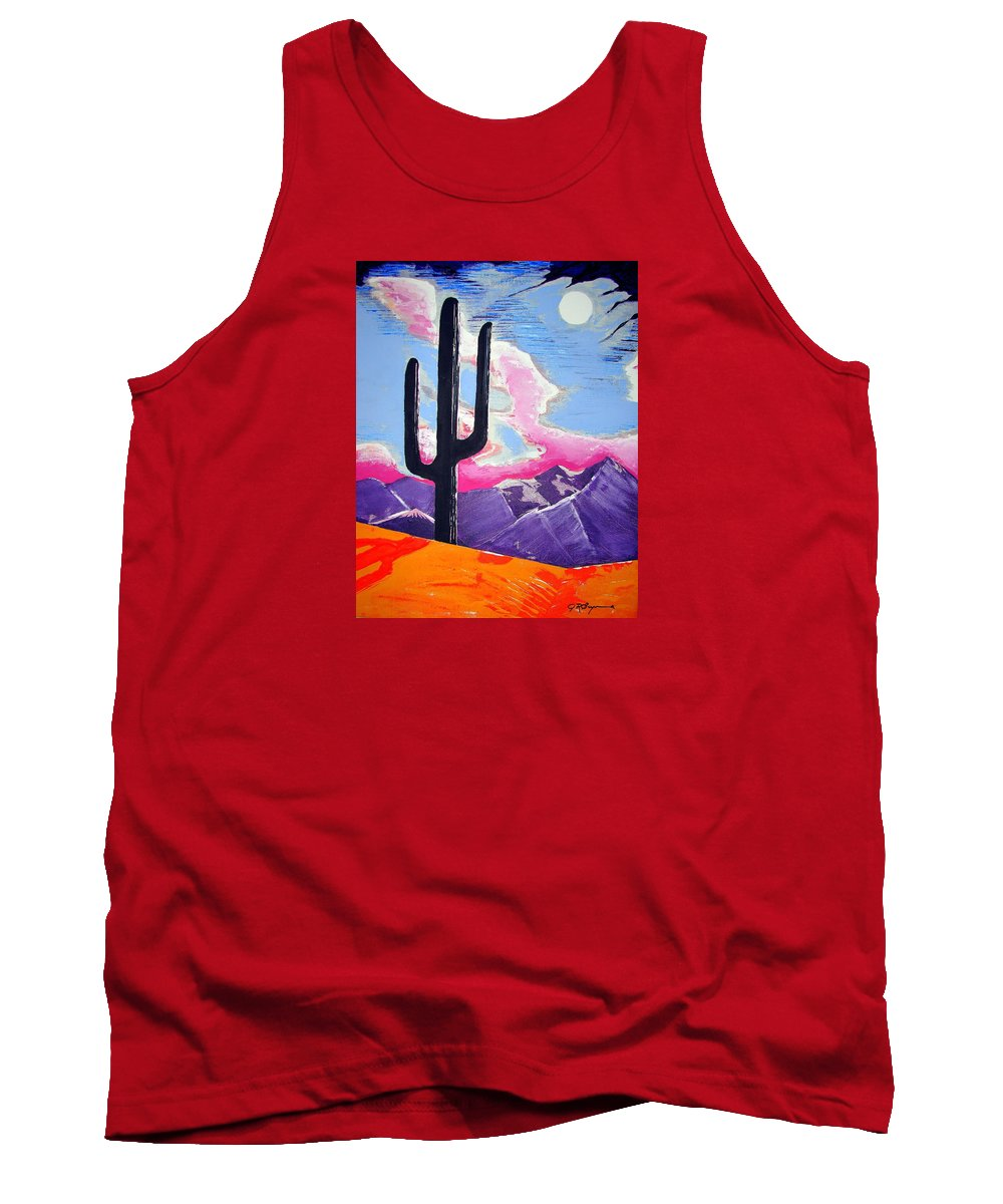 Cactus Tank Top featuring the painting Southwest Skies 2 by J R Seymour