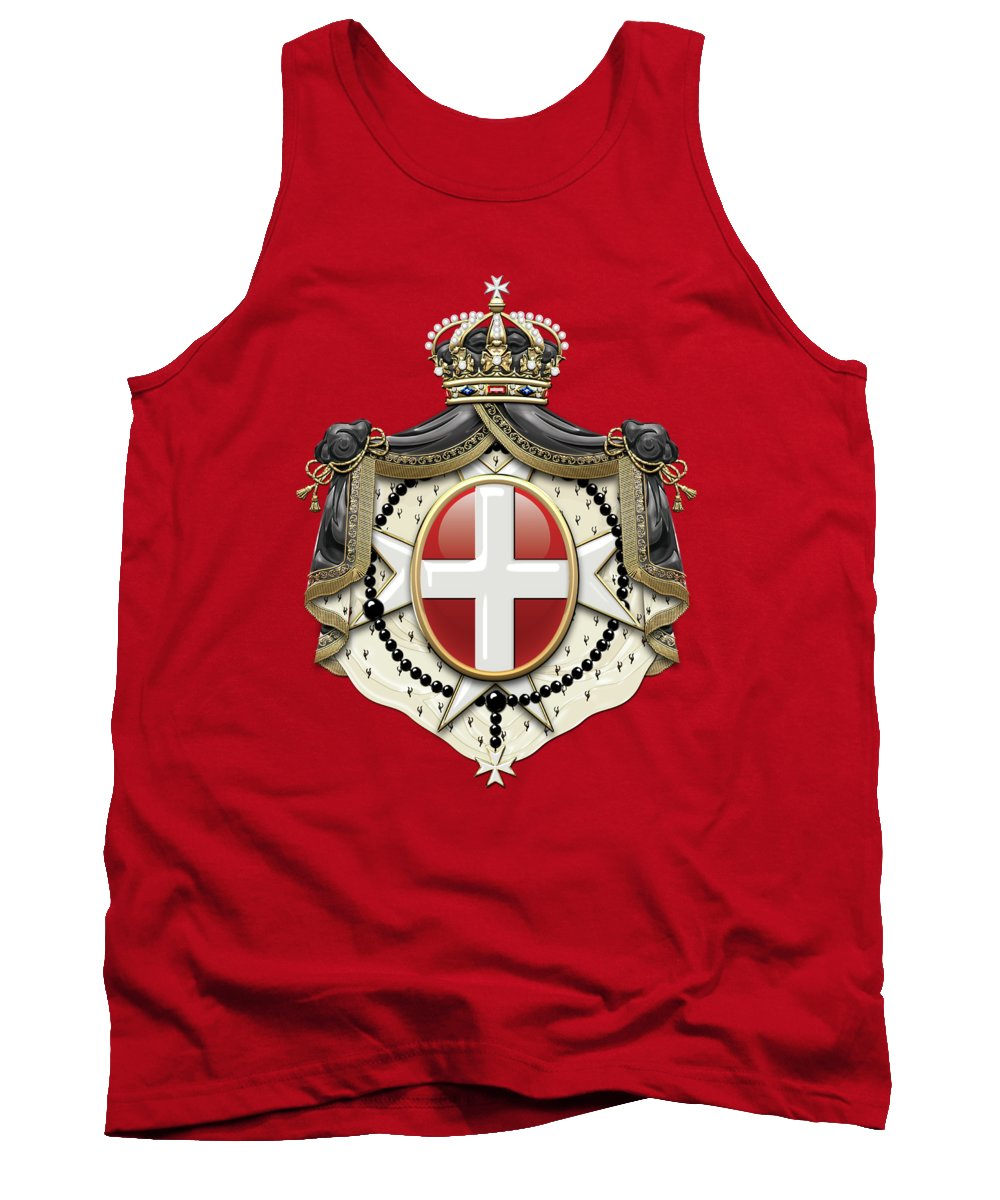 'ancient Brotherhoods' Collection By Serge Averbukh Tank Top featuring the digital art Sovereign Military Order Of Malta Coat Of Arms Over Red Velvet by Serge Averbukh