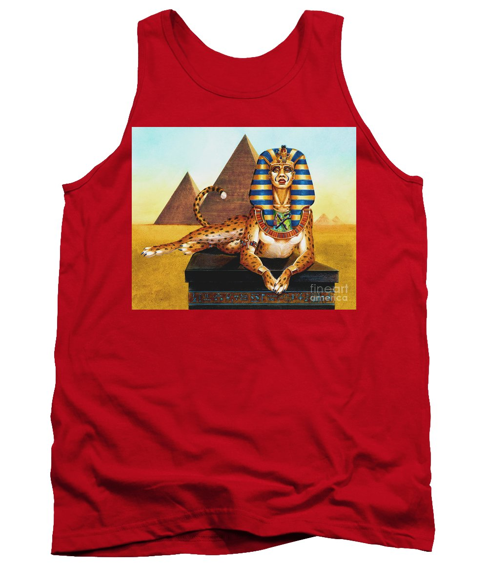 Cat Tank Top featuring the painting Sphinx On Plinth by Melissa A Benson