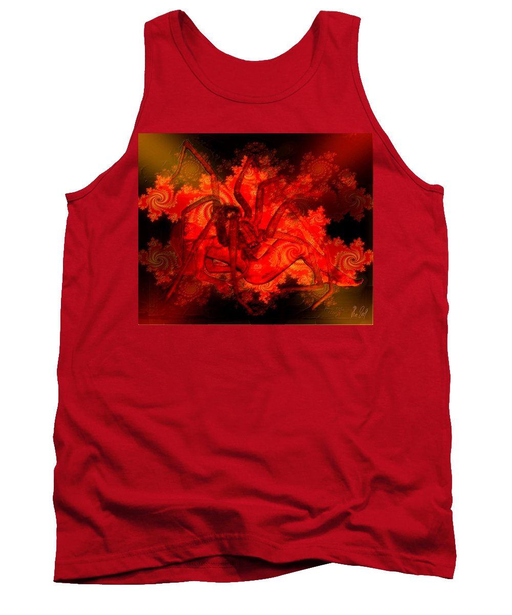 Spider Tank Top featuring the digital art Spider Catches Virgin In Space by Helmut Rottler