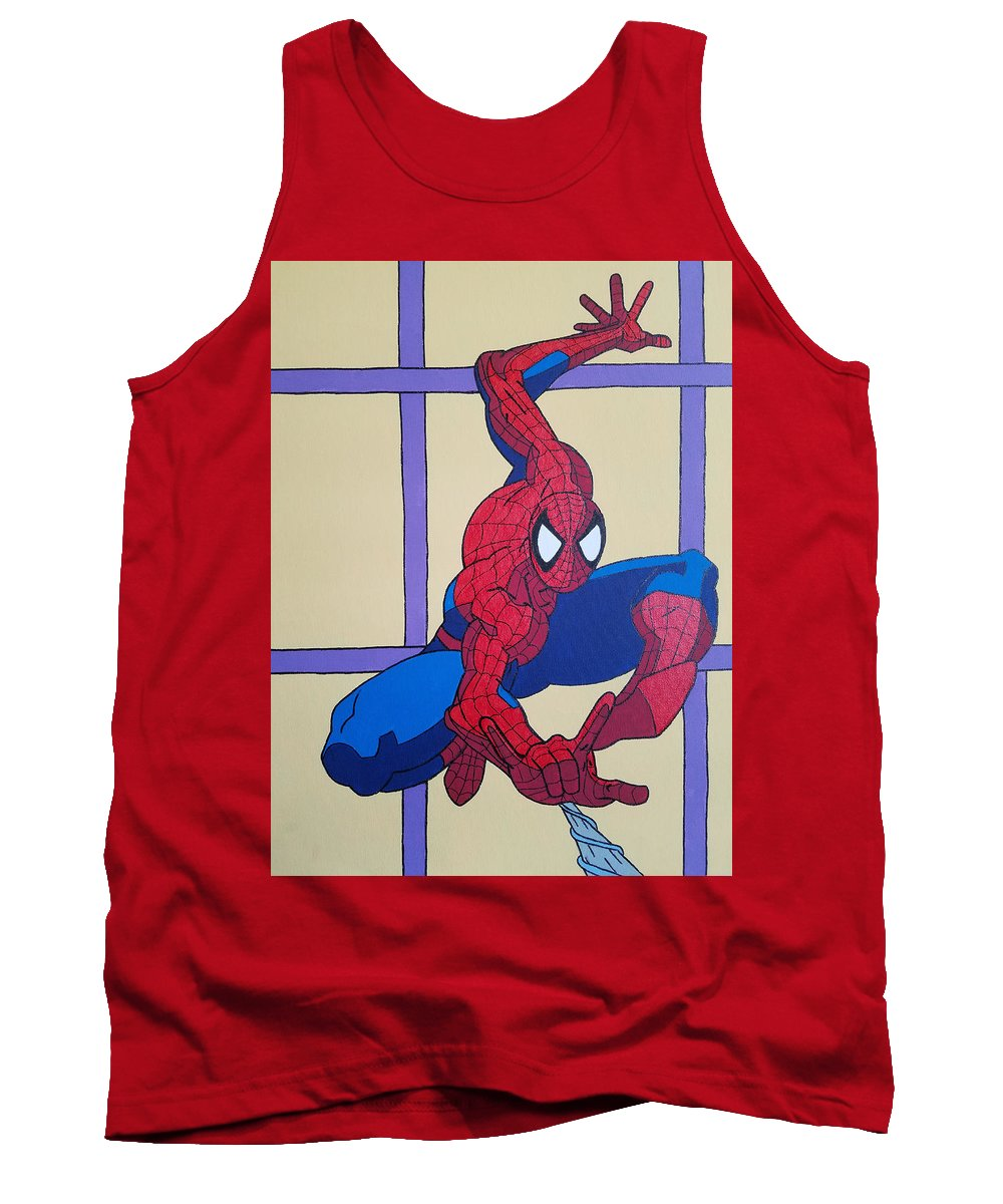 Spiderman Tank Top featuring the painting Spiderman by Johnny McNabb