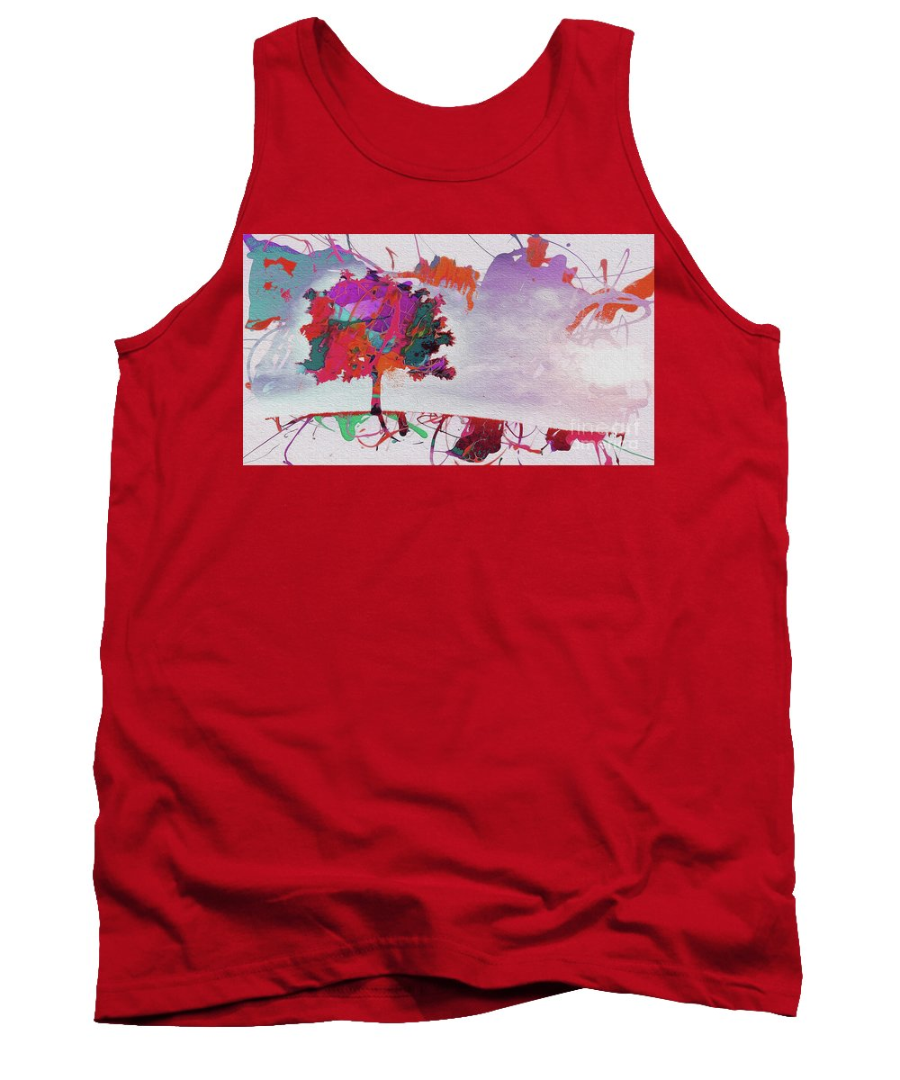 Painting Tank Top featuring the painting Splash Tree Art by Gull G