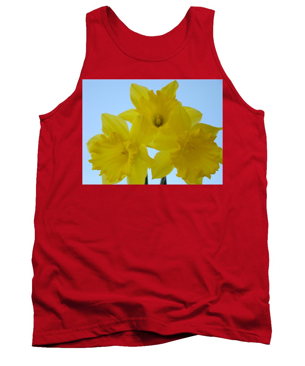 �daffodils Artwork� Tank Top featuring the photograph Spring Daffodils 2 Flowers Art Prints Gifts Blue Sky by Baslee Troutman
