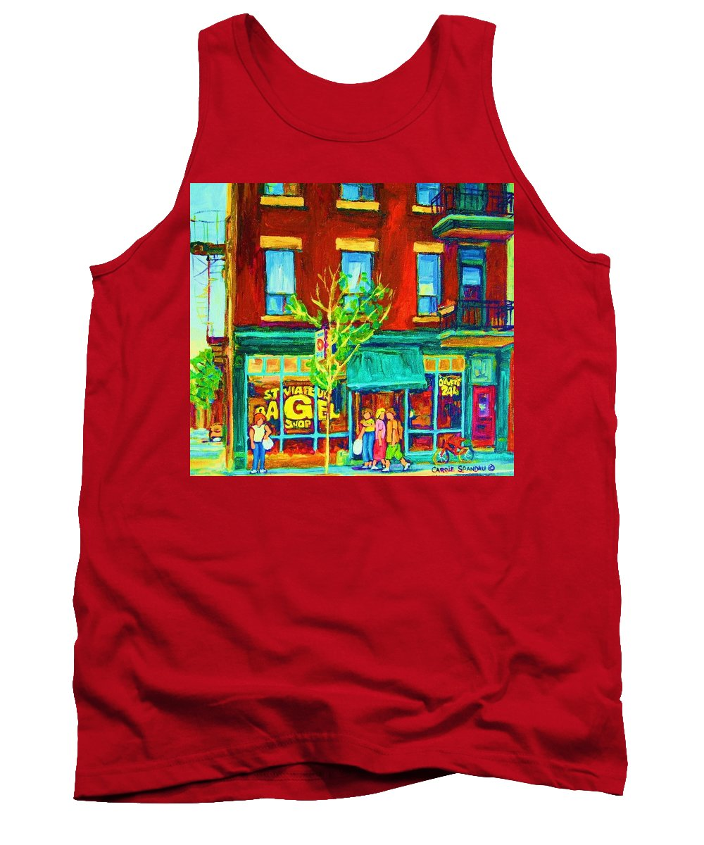 St. Viateur Bagel Shop Tank Top featuring the painting St Viateur Bagel Shop by Carole Spandau