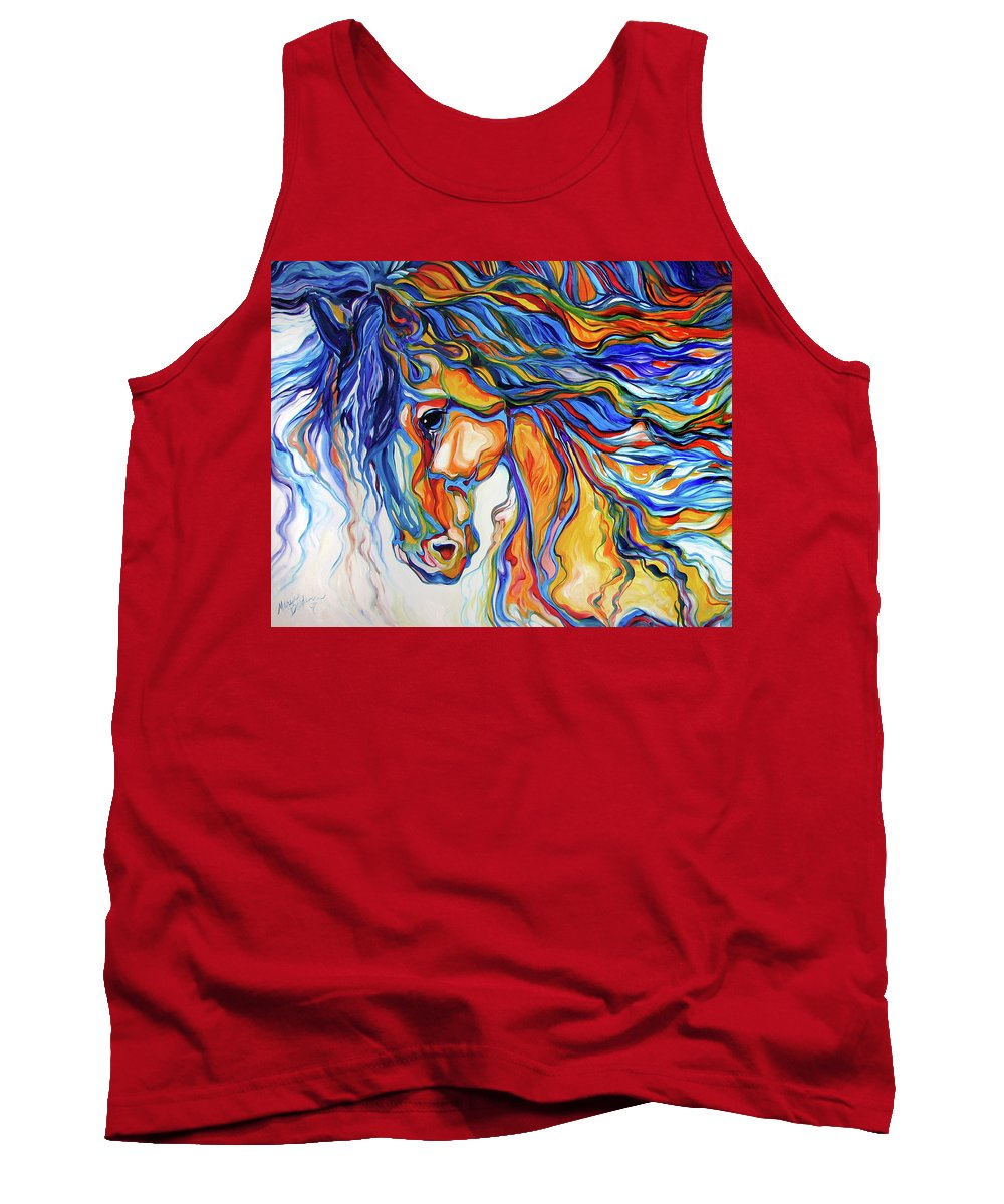 Equine Tank Top featuring the painting Stallion Southwest By M Baldwin by Marcia Baldwin